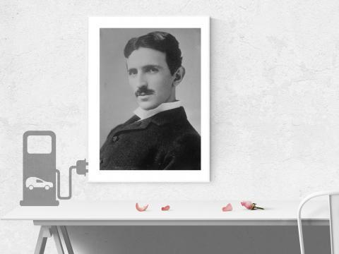 Nikola Tesla Elektroauto Auto Till Porträt